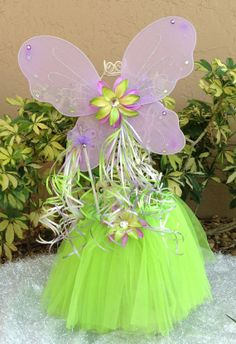 Tinkerbell Tutu, Fairy Princess Tinkerbell purple and green tutu, wings and wand fairy princess set Party Favors