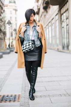 Brana's Divine World - outfit - Denim jacket + Camel coat + Faux leather skirt