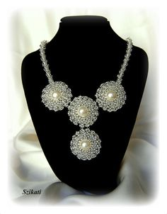 Beaded+pearl+&+seed+bead+Right+Angle+Weave+necklace+by+Szikati,+$135.00