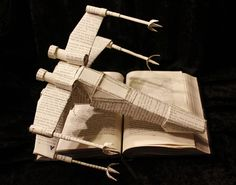 X-Wing Fighter Crafted from Recycled Book Pages