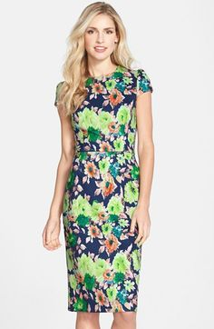 Betsey+Johnson+Floral+Print+Scuba+Midi+Sheath+Dress+available+at+#Nordstrom