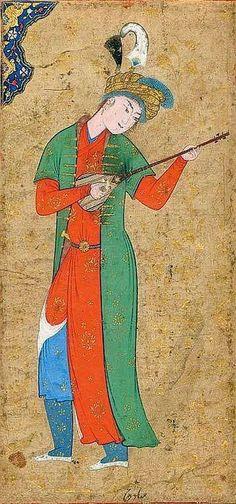A man playing the setar Persian painting, Qazvin period (Safavid), second half XVI century.