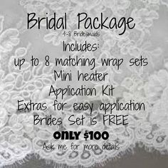 Want to treat you and your bridesmaids to a *perfect* manicure for less? Take advantage of a Jamberry bridal package and have beautiful and classy nails for the wedding or *SPICY* nails for the bachelorette party! Book your party today! monicaford.jamberry.com