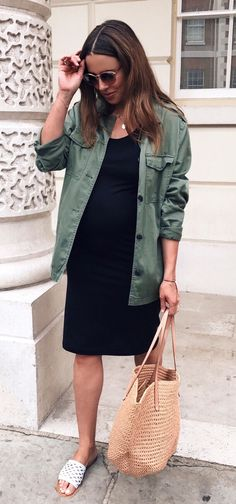 #summer #outfits Army Jacket + Black Dress