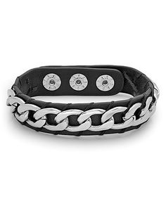 Look what I found on #zulily! Black Leather & Stainless Steel Chain-Detail Snap Bracelet #zulilyfinds