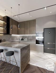 Modern Kitchen Interiors, Luxury Kitchen Design, Kitchen Room Design, Kitchen Cabinet Design, Luxury Kitchens, Kitchen Layout, Home Decor Kitchen, Interior Design Kitchen, Home Kitchens