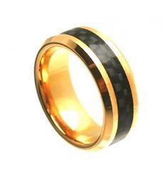 8MM Men Women Wedding Engagement Anniversary Band Cobalt Ring 14K Yellow Gold Plated High Polish with Black Carbon Fiber Inlay Beveled Edge