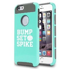 Amazon.com: Apple iPhone 6 6s Shockproof Impact Hard Case Cover Bump Set Spike Volleyball (Teal/Gray): Cell Phones & Accessories