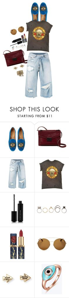 """""""💙👁"""" by girlyskullsam ❤ liked on Polyvore featuring Stubbs & Wootton, Loeffler Randall, MM6 Maison Margiela, Marc Jacobs, Iosselliani, Givenchy and Aéropostale"""