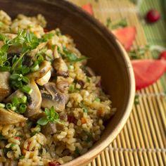Vegetarian Recipes, Healthy Recipes, Mushroom Recipes, Fried Rice, Risotto, Potato Salad, Protein, Stuffed Mushrooms, Beans