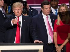PHOTO: Donald Trump, flanked by campaign manager Paul Manafort and daughter Ivanka, checks the podium in preparation for accepting the GOP nomination at the 2016 Republican National Convention in Cleveland, Ohio, July 20, 2016.