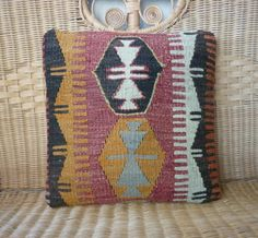HANDWOVEN Traditional Turkish Kilim Pillow Cover 15.4x15.4,Tribal Pillow,Decorative Throw Pillows,Bohemian Chic Cottage Decor  Cushions. on Etsy, $47.00