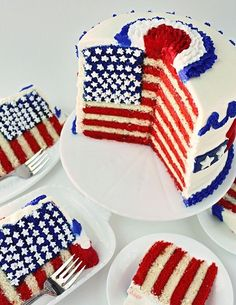 Layer cake drapeau - Des desserts made in USA pour fêter l'Independence Day - Elle à Table