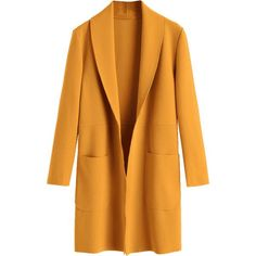 Plain Open Front Coat With Pockets (€27) ❤ liked on Polyvore featuring outerwear, coats, zaful, pocket coat, yellow coat, open front coat, mustard coat and mustard yellow coat
