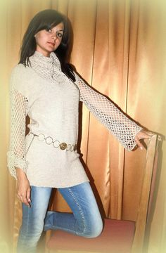 Linen Knitted/ Asymmetrical Tunic Beige/ knitted by Ethnostyle