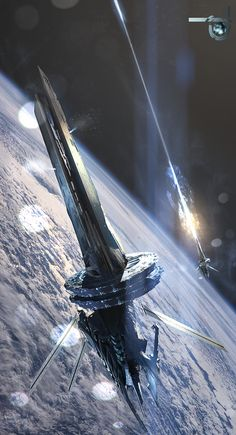 (orbital defense) rail gun platforms - by phoenix Spaceship Art, Spaceship Design, Interstellar, Concept Ships, Concept Art, Starship Concept, Sci Fi Spaceships, Sci Fi Ships, Futuristic Art