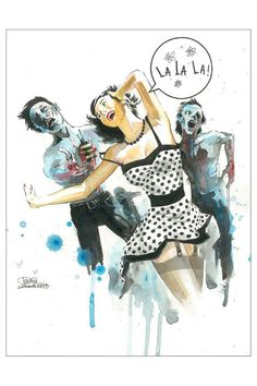 Lora Zombie Zombie Love, Mounted Canvas