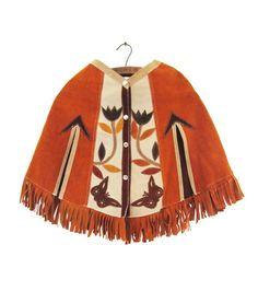 Vintage 1970s Leather Poncho Suede Shawl Handmade Fringe Tassel Hippie Cape    This short hippie poncho is in excellent condition and was handmade,