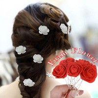 Wish | 6Pcs/Lot Women Beauty Small Rose Flower Hair Pins Wedding Bridal Accessory Bridesmaids Hair Piece