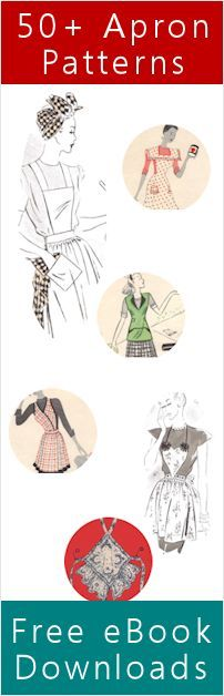 3 PDF ebooks (free) with various apron patterns. Also has a link to online apron tutorials.