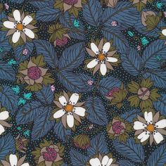 142050 wild strawberry | gray Quilter's Cotton from Garden Secrets by Sarah Watson for Cloud9 Fabrics