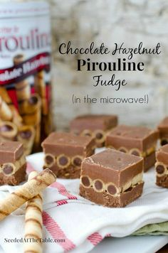 Chocolate Hazelnut Pirouline Fudge by SeededAtTheTable.com - Easy to make in the microwave!  Stack Pirouline rolled wafers between two layers of fudge!