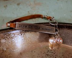 Leather Bracelet Stamped Quote Live in the Moment by belmonili, $15.00