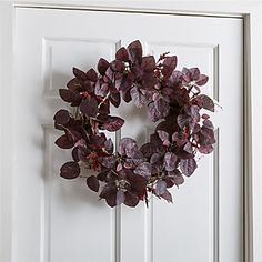 With its dark purple leaves and fuzzy flocked sprigs, our faux wreath recreates the rich, autumnal color of smoke bush. Plastic, split twig, polyester and flocking For indoor or covered outdoor use Made in China Fall Door Decorations, Thanksgiving Decorations, Fall Decor, Holiday Decor, Holiday Fun, Holiday Ideas, Outdoor Thanksgiving, Black Wreath, Artificial Plants