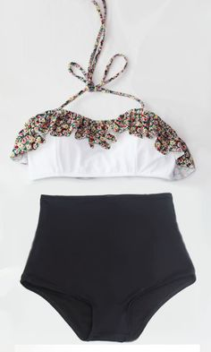 Flora Floral Print Top and Black Vintage Retro High by venderstore, $39.99
