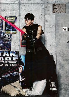 Chen showing off his guns. I mean, light saber. Vogue Korea, December 2015 Issue : EXO x STAR WARS Collaboration - Chen Exo Chen, Chanyeol Baekhyun, Exo K, Jooheon, Winwin, Shinee, Kpop, Got7, Kim Jong Dae