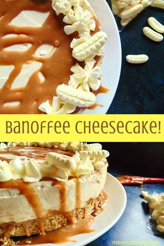 Banoffee Cheesecake; a lusciously creamy no-bake cheesecake, full of fresh bananas and sticky toffee sauce, on top of a buttery biscuit base! Move over Banoffee Pie!