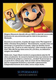 Nintendo por fin desvela la edad de Super Mario - A punto de ser un cuarentón de oro   Gracias a http://www.cuantarazon.com/   Si quieres leer la noticia completa visita: http://www.estoy-aburrido.com/nintendo-por-fin-desvela-la-edad-de-super-mario-a-punto-de-ser-un-cuarenton-de-oro/