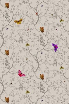 36 New Ideas For Bird Wallpaper Bedroom Timorous Beasties Butterfly Cushion, Fabric Butterfly, Butterfly Pattern, Butterfly Chair, Butterfly Print, Bird Wallpaper Bedroom, 4 Wallpaper, Butterfly Wallpaper, Decoupage