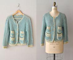 Lamballe wool cardigan / wool 1950s cardigan / vintage 50s sweater