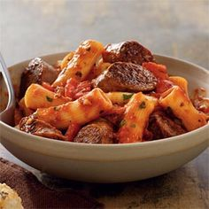 Johnsonville Italian Sausage Rigatoni- this is really good! I used Johnsonville sweet sausage and Newman's tomato and basil sauce. But I only used pkg of rigatoni because 1 lb is just too much pasta for that much sauce. Pork Recipes, Pasta Recipes, Cooking Recipes, Meatball Recipes, Recipies, Dishes Recipes, Sausage Rigatoni Recipes, Chicken Sausage, Sausage Pasta