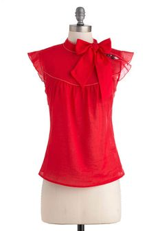 Pinpoint of View Top in Red - Red, Solid, Buttons, Work, Sleeveless, Sheer, Mid-length, Vintage Inspired, 60s