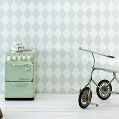 Create a feature wall with this playful harlequin wallpaper from Ferm Living, the subtle mint hue adds interest to the room without dominating. Feature walls are best placed opposite the door, to create a sense of space and focus when entering. Ferm Living Wallpaper, How To Hang Wallpaper, Wallpaper Paste, Paper Wallpaper, Room Wallpaper, Diamond Wallpaper, Wallpaper Online, Harlequin Wallpaper, Baby Bedroom