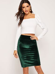 3178ee523aba Casual Green Wide Waistband Velvet Bodycon Skirt Body Con Skirt