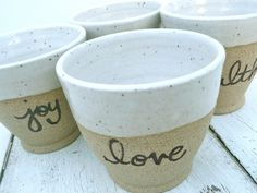 Small Stoneware Cups Mini Tumblers Stacking cups by jclayPottery
