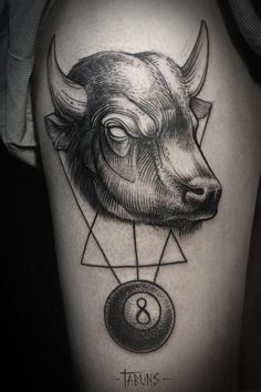 Bull Tattoo by Alex Tabuns Bull Tattoos, Mom Tattoos, Line Tattoos, Black Tattoos, I Tattoo, Tatoos, Alex Tabuns, Blackwork, Dot Work