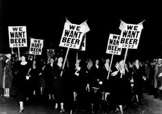 """Women turn out in large numbers, some carrying placards reading """"We want beer,"""" for the anti prohibition parade and demonstration in Newark, N. 1932 The Prohibition Story In Photos"""