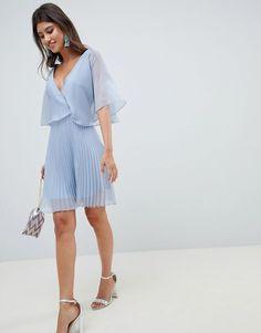 ASOS | ASOS DESIGN Mini Dress With Pleat Skirt And Flutter Sleeve