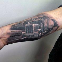 Semi Truck Tattoo Designs 60 truck tattoos for men - vintage and big ...