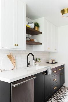 Small Kitchen Makeover Can You Spot the Ikea Hack in This Kitchen Makeover? - Take a peek inside this beautiful kitchen makeover from the creative duo behind Studio McGee. See how the husband and wife team took this Hillside kitchen from drab to fab. Bright Kitchens, Black Kitchens, Home Kitchens, Black Ikea Kitchen, Kitchen Cabinets Black And White, Ikea Kitchens, Black Counters, Small Kitchens, White Cabinets