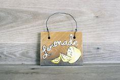 Lemonade Wood Door Hanger, Mini Wood Sign, Summer Sign #summersign #summer #lemonade #gift