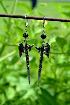 Battle Axe Earrings. Halloween Earrings. Fantasy. Axe Earrings. Gothic Earrings. Unique Earrings. Halloween Jewelry. Steampunk Earrings. by pearlandberry on Etsy https://www.etsy.com/listing/551733661/battle-axe-earrings-halloween-earrings