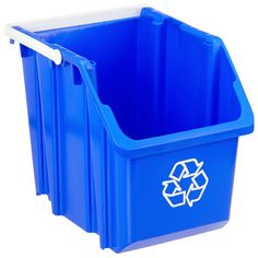 Blue 6 gal. Stackable Recycle Bin with White Handle | The Container Store