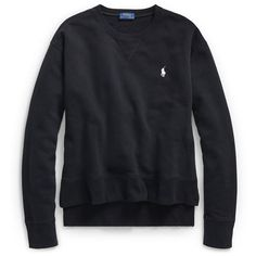 Polo Ralph Lauren Fleece Crewneck Sweatshirt ($1,470) ❤ liked on Polyvore featuring tops, hoodies, sweatshirts, embroidered top, vintage crewneck sweatshirt, embroidered long sleeve top, ribbed top and vintage crew neck sweatshirts