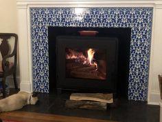 Art Nouveau Ducks and Dragons with Victorian Borders - De Morgan Tile Backsplash Small Fireplace, Fireplace Surrounds, Fireplace Tiles, Victorian Tiles, Victorian Fireplace, Victorian Nursery, Design Repeats, Stained Glass Designs, Art Nouveau Design