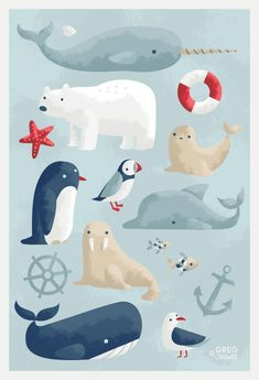 53 Best Ideas For Illustration Art Prints Animals Meer Illustration, Polar Bear Illustration, Anchor Illustration, Baby Boy Art, Canvas Prints, Art Prints, Cute Drawings, Illustrations Posters, Illustrators